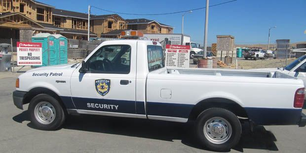 American Assured San Jose Private Security Company transport stationed on site